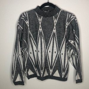 Vintage Gray and White Pattern Sweater